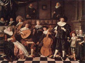 Bruno Allen, professeur de guitare et de théorbe au stage de musique Accordissimo, peinture représentant un luth et une viole de gambe