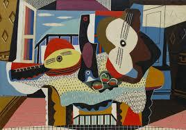 Bruno Allen, professeur de guitare et de théorbe au stage de musique Accordissimo, peinture représentant une guitare et un luth