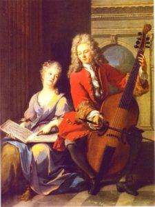 Peinture représentant un joueur de viole de gambe