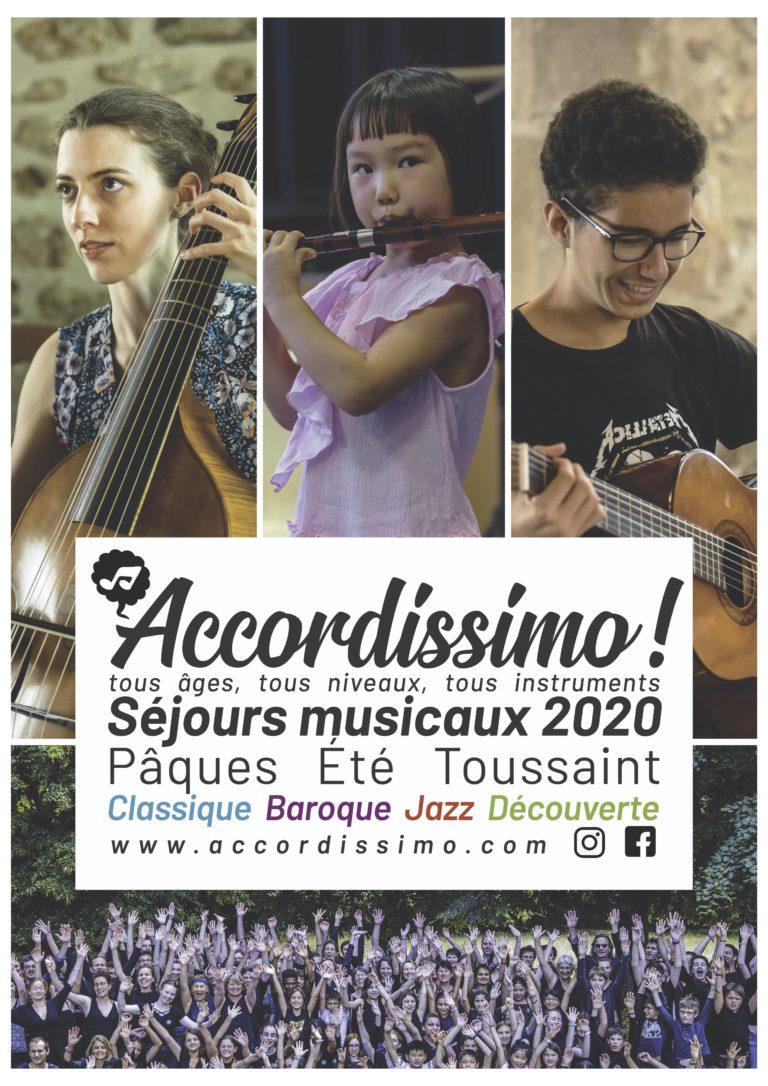 Affiche séjours musicaux Accordissimo 2020
